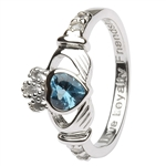 Ladies DECEMBER Birthstone Silver Claddagh Ring LS-SL90-12-3D