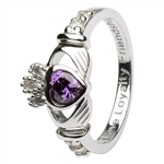 Ladies FEBRUARY Birthstone Silver Claddagh Ring LS-SL90-2-3D