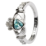 Ladies MARCH Birthstone Silver Claddagh Ring LS-SL90-3-3D