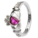 Ladies  JULY Birthstone Silver Claddagh Ring LS-SL90-7-3D