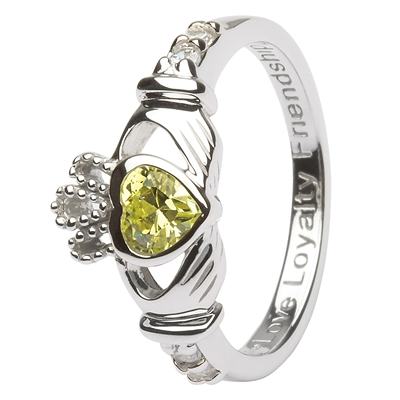 Ladies AUGUST Birthstone Silver Claddagh Ring LS-SL90-8-3D