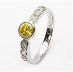 Ladies Birthstone Silver Celtic Ring LS-SL94-11