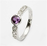 Ladies Birthstone Silver Celtic Ring LS-SL94-6