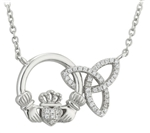 Sterling Silver Claddagh and Trinity Pendant