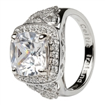Women's Sterling Silver White CZ Halo Ring LS-SL101CZ