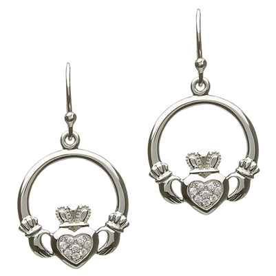 Silver Claddagh Earrings SE-2057CZ