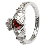 Ladies JANUARY Birthstone Silver Claddagh Ring LS-SL90-1-3D
