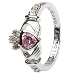 Ladies OCTOBER Birthstone Silver Claddagh Ring LS-SL90-10-3D