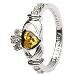 Ladies NOVEMBER Birthstone Silver Claddagh Ring LS-SL90-11-3D