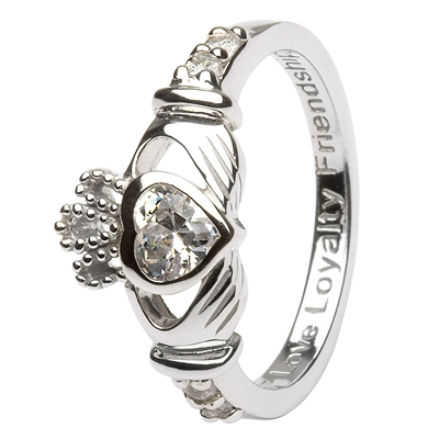 Ladies APRIL Birthstone Silver Claddagh Ring LS-SL90-4-3D