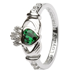 Ladies MAY Birthstone Silver Claddagh Ring LS-SL90-5-3D