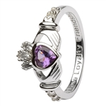 Ladies JUNE Birthstone Silver Claddagh Ring LS-SL90-6-3D