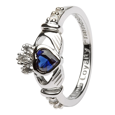 Ladies SEPTEMBER Birthstone Silver Claddagh Ring LS-SL90-9-3D