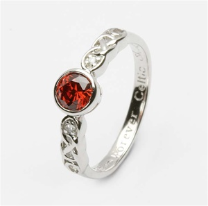 Ladies Birthstone Silver Celtic Ring LS-SL94-1