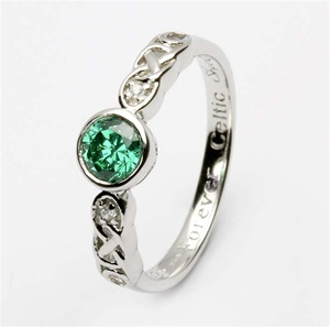 Ladies Birthstone Silver Celtic Ring LS-SL94-5
