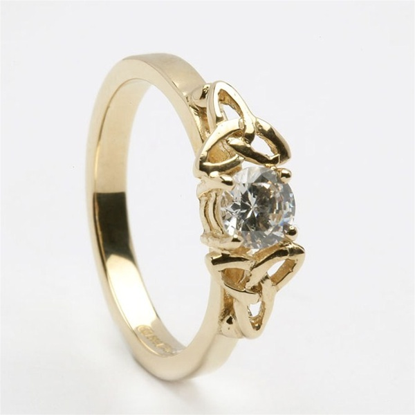 Irish Wedding Rings.14k Gold Celtic Engagement Ring With 0 5 Ct Diamond Lg Eng5