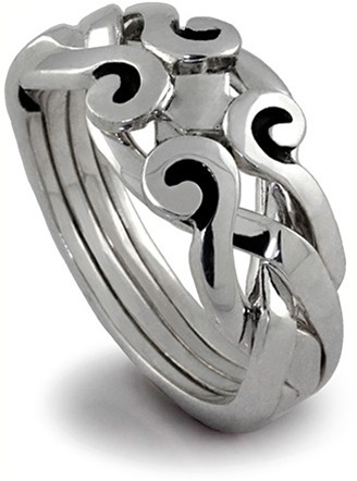 or rings ring market puzzle band ladies four silver il gold sterling etsy