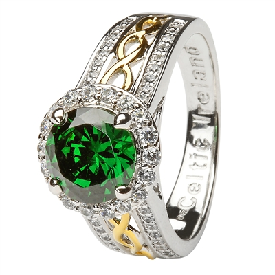 Silver and Gold Plated Green CZ Halo Ring LS-SL100GRCZ