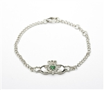 Sterling Silver Claddagh Bracelet with White and Green CZs SB1079