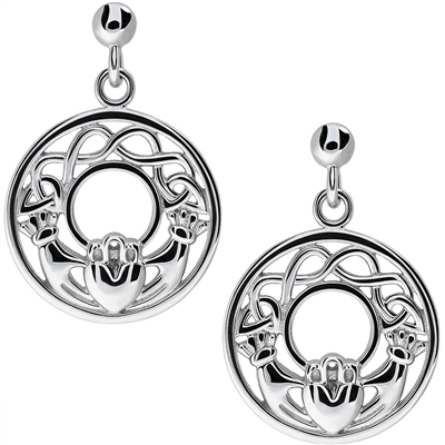 Silver Claddagh Earrings UES-6159