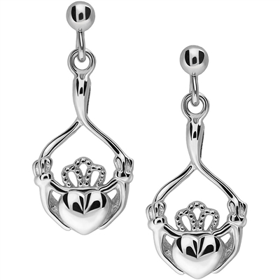 Silver Claddagh Earrings UES-6165