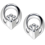 Silver Claddagh Earrings UES-6168